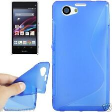 Custodia cover case Gomma Gel WAVE BLU per Sony Xperia Z1 Compact MINI D5503