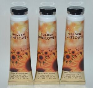 3 BATH BODY WORKS GOLDEN SUNFLOWER HAND CREAM LOTION SHEA BUTTER 1OZ TRAVEL SIZE