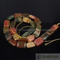 "Natural Picasso Jasper Gemstone 10x14mm Rectangular Spacer Loose Beads 15"""