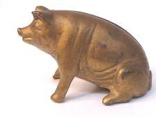 1920's gold SITTING PIG cast iron still bank A.C. Williams  ORIGINAL *