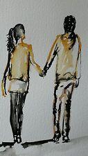 "original watercolour/ink painting  ""Happy Couple"""
