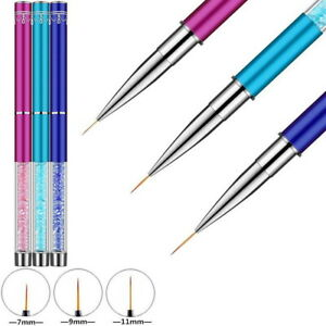 3Pcs Nail Art Liner Brush Acrylic Nail Brush Gel Nail Painting Brush Pen Set