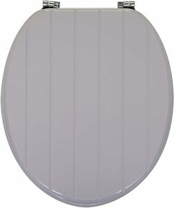 GREY WOODEN TONGUE & GROOVE LUXURY TOILET SEAT WITH STRONG CHROME PLATED HINGES