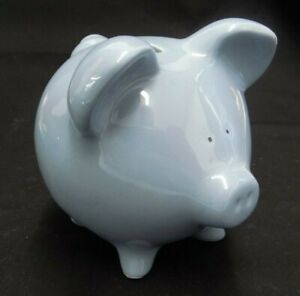 """PERIWINKLE BLUE CERAMIC COIN PIG PIGGY BANK W/STOPPER 4.5"""" TALL X 5"""" LONG"""