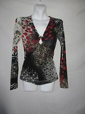 65 MESMERIZE XS 2 SMALL USA TOP BLOUSE SHIRT V-NECK LONG SLEEVE BLACK RED GRAY