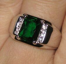 Size 9 COOL  Handmade Men Stainless Steel 4ct Green Emerald White CZ Band Ring