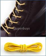 "Yellow 100cm Round Wax Waxed Cotton Shoe Work Boot Cord Dress Laces 40"" 4/5 Eyes"