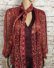 Plenty By Tracy Reese Silk Button Front Blouse Sheer Red Gold Accents Size 10