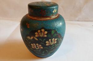 Japanese Meiji Circa 1880 Earthenware Cloisonne Lidded Caddy