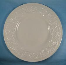 Patrician Plain Dinner Plate Wedgwood Embossed Flower Scrolls England White (O)