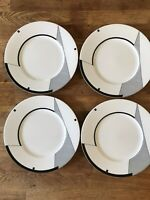 Set of 4 Christopher Stuart Optima ANGLES Salad / Dessert Plates White Black