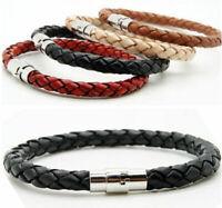 Unisex Women Men Braided Leather Steel Magnetic Clasp Bracelet Handmade Fashion