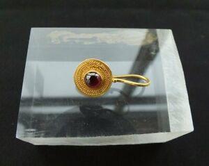 ANCIENT ROMAN GOLD HOOP EARRING GARNET CABOCHON