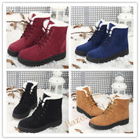 Fashion Women's Ankle Boots Winter Warm Casual Fur Lined Lace Up Flat Shoes