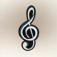 Treble Clef Patch — Iron On Badge Embroidered Motif — G Music Rock Fun Pitch