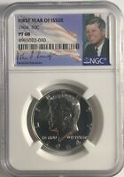 1964 NGC PF68 PROOF SILVER KENNEDY HALF DOLLAR JFK COIN FIRST YEAR OF ISSUE 50C