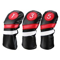 Golf Head Covers 3Pcs/Set Driver Fairway Wood Headcovers Black Red Vintage Z5O9