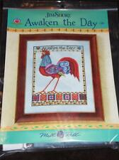 JIM SHORE Counted Cross Stitch Kit AWAKEN THE DAY CHART, BEADS, BUTTONS, FABRIC