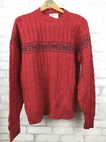 Vintage Lord Jeff Heathered Red Cable Knit Fair Isle Ski Sweater Mens Medium