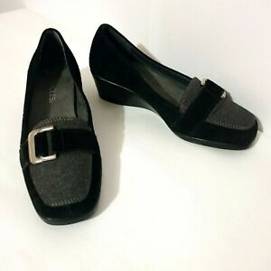 Aerosoles Comfort Shoes Sz 6.5 Wedges Black Grey Leather Square Toe Work Buckle