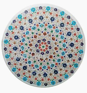 """48"""" Marble Dining Table Top Inlay Multi Color Gemstones Hallway Table for Home"""