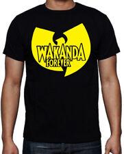 Black Panther Wakanda Forever Wu Tang Inspired Logo Superhero Black T Shirt