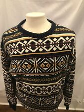 Vtg Chaps Ralph Lauren Nordic Aztec Style 100% Cotton Sweater Sz Large