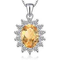 White gold finish citrine and created diamond oval pendant necklace gift boxed