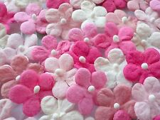 100! Cute Mulberry Paper Daisy Flowers - Lovely Pink & White Embellishment Mix!