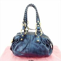 Francesco Biasia Shoulder bag Navy Gold Woman Authentic Used T6847