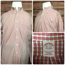 Brooks Brothers Traditional Fit Non Iron Mens Shirts L/S Red Checker Size 16.5