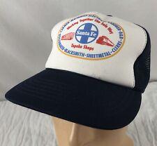 Vtg Santa Fe Topeka Shops Hat Cap Trucker Snapback Machinist Boilermaker