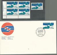 CANADA 1979 WHITE WATER KAYAK Sc # 833 PLATE BLOCK & SINGLE MNH & FDC FREE SHIP