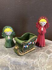 Vintage Napcoware Japan Christmas Sleigh Figurine Candle Holder & 2 Angels