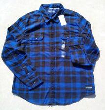 New Calvin Klein Jeans Men's Flannel Front Button Cotton Shirt NWT 2XL Blue