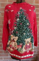 HEIRLOOM COLLECTIBLES Vintage Embellished Ugly Christmas Sweater Teddy Bear Sz M