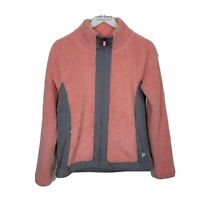 Fila Sport Womens Pink Gray Sherpa Raglan Full Zip Faux Fur Jacket Size Medium