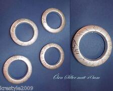 10 Stück! Stoffösen  rund  flüssige Silberfaden-Optik, 40 mm, Dekoösen