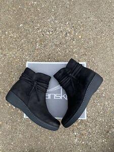 Dansko Evelyn Bootie Ankle Boots Size 38 Black Burnished Suede