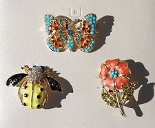 BUTTERFLY BEE FLOWER PINS BROOCHES RHINESTONE ENAMEL JEWELRY 3 PC BOXED SET NEW