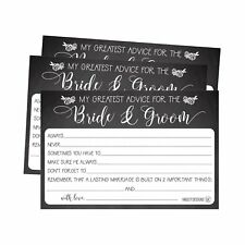 50 4x6 Rustic Chalk Wedding Advice & Well Wishes For The Bride and Groom Card...