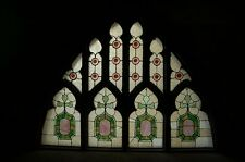 "+ Antique Stained Glass Window, 71"" wide x 55"" ht. (10 pieces) + chalice co. +"
