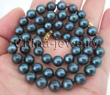 """akoya pearl necklace - Gp clasp P7772 - 17"""" 7-7.5mm blue round seawater"""