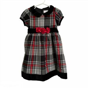 Hanna Andersson Girls Size 90 3T Dress Flannel Plaid Velvet Holiday Red Black