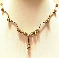 Art Nouveau/Georgian/Victorian/Curved Gold Tone /Rhinestones Choker/Necklace
