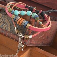 1PC Beaded Leather Adjustable Bracelet Bohemia Retro Jewelry Cuff Unisex Gift