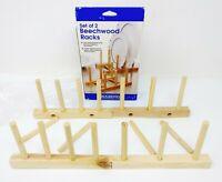 Beech Wood Wooden Standing Plate Rack Stand,  Dinnerware Rack Set of 2