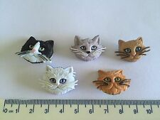 Cat Faces Black White Brown Grey Novelty Buttons from Dress It Up 5800