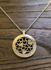 Hand Stamped Multi Heart Circle Design 30mm Silver Necklace Family is Forever