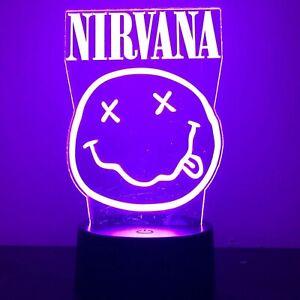 NIRVANA KURT COBAIN GRUNGE BAND 3D Acrylic LED 7 Colour Night Light Touch Lamp